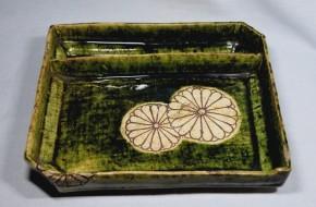 織部長方皿(硯入れ)   江戸時代後期