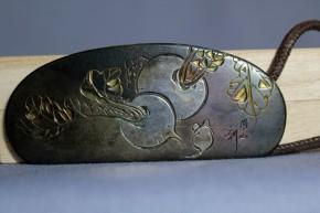 銀製丸大根と鼠図帯留め   明治時代   作家もの