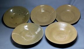 萩焼小皿  5枚(1枚キズ)  江戸時代末期~明治時代