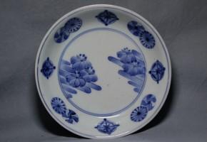 藍柿右衛門流水桐花丸文小皿   江戸時代中期  本物保証   盛期