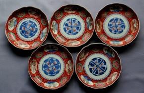 古伊万里輪花形色絵窓絵皿  5枚   江戸時代後期
