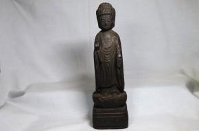 李朝木彫漆箔如来立像   李朝時代前期   珍品