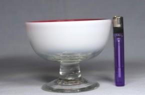 縁赤乳白暈し円形碗型氷コップ   明治~大正時代  本物保証