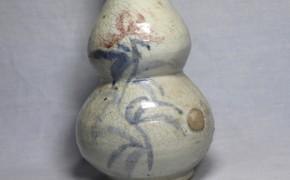 李朝染付辰砂瓢形大徳利(1ー1)   李朝時代後期  本物保証  珍品