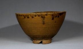 上野焼飴釉割高台茶碗     江戸時代中期