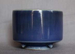 古伊万里瑠璃三足付平香炉  江戸時代後期