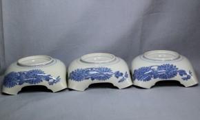 藍柿右衛門折菊文角切鉢(2)5個  江戸時代中期
