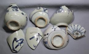 初期伊万里破片(15)   7点 「す」「酒」字あり  江戸時代初期