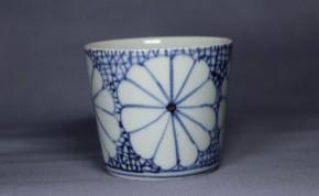 古伊万里氷裂菊花文蕎麦猪口(229)   江戸時代中期   本物保証