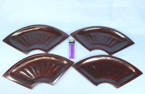 小さい扇面形の藤原盆(2) 4枚   明治~大正時代