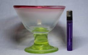 三色ガラスラッパ型氷コップ  ウランガラス   明治~大正時代  本物保証