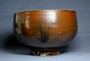 李朝総鉄砂磁器製茶碗   李朝時代後期  珍品