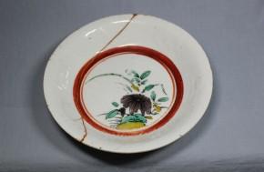 古九谷岩牡丹花図小皿(1)  江戸時代前期