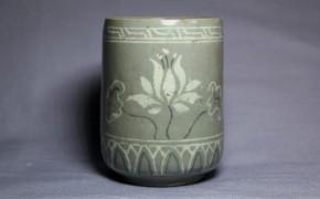 高麗青磁双花文筒茶碗   李朝時代後期
