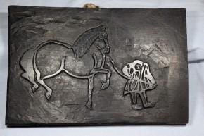 馬板(両面彫り)   江戸時代  猿の駒曳き