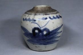 中国染付山水図壺(3)   明時代