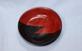 赤黒塗分小皿(平盃)2   江戸時代
