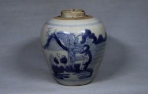 中国染付山水人物図壺(2)   明時代