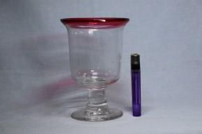 縁赤透明ベル形氷コップ(1)   大正時代      本物保証