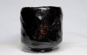 樂焼9代了入作黒筒茶碗   江戸時代後期