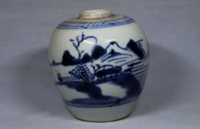 中国染付山水図壺(1)   明時代