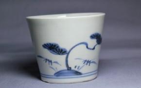 古伊万里松梅竹文蕎麦猪口(221)   江戸時代中期  本物保証