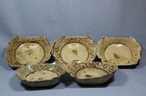 御深井焼葡萄文小皿  10枚   江戸時代初期