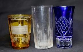 紺色切子グラス他  3個   18~21世紀