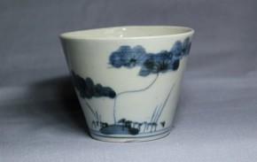 古伊万里松梅竹文蕎麦猪口(222)   江戸時代中期  本物保証