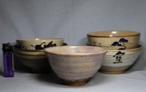 抹茶茶碗 5個    昭和時代  作家物あり