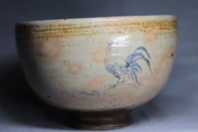 御本染付鶏図茶碗(1-1)   17世紀