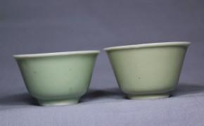 古伊万里青磁煎茶碗  2個   江戸時代後期~幕末