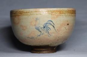 御本染付鶏図茶碗(1)   17世紀