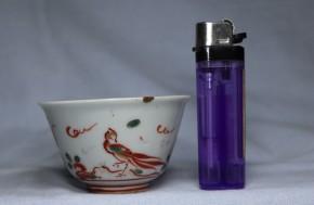 南京赤絵鳥花文猪口(酒盃・煎茶碗)  中国清朝初期