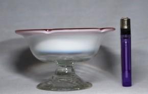 縁赤乳白暈し五弁花形氷コップ(1)   明治~大正時代  本物保証