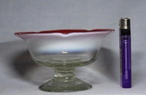 縁赤乳白暈し五弁花形氷コップ(2)   明治~大正時代  本物保証