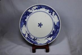藍九谷手葡萄図中皿(2)    江戸時代前期~中期