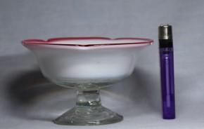 縁赤乳白暈し五弁花形氷コップ(3)   明治~大正時代  本物保証