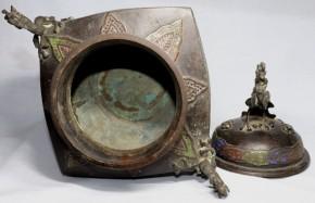 銅製七宝大香炉(1-1)  元~明時代