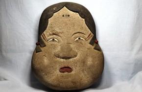 石製彩色お多福面   江戸~明治時代  飾物  珍品