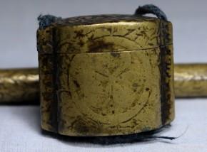 黄銅(真鍮)葵文入矢立.墨入   江戸時代前期~中期