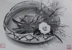 穐月明「歳寒」      日本画.水墨画12号  真作保証