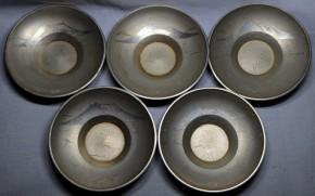 薩摩錫器桜島帆掛船鷗図古錫製茶托 5個  鹿児島高山製    共箱