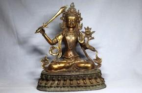 銅製鍍金チベット文殊菩薩(マンジュシュリー)坐像   清朝時代(17世紀)