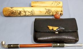 革製煙草入れ.鹿角製煙管入れ.銀製煙管(9) 春明銘  江戸時代