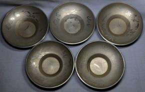 薩摩錫器四君子図古錫製茶托 5個  鹿児島高山製 共箱