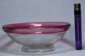 縁赤巻縁透明円形小鉢   大正時代   本物保証