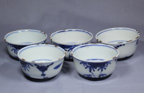 古染付煎茶碗  5個  明時代末期  古箱入り