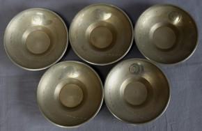 薩摩錫器蝸牛図古錫製茶托 5個  高山製 共箱