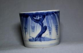 古伊万里柳古木蝙蝠図蕎麦猪口(194)   江戸時代後期